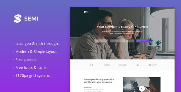 Demo - Semi - Landing Page Responsive Muse Template